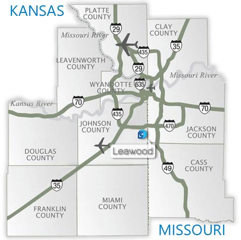 Leawood in relation to the Kansas City metro area